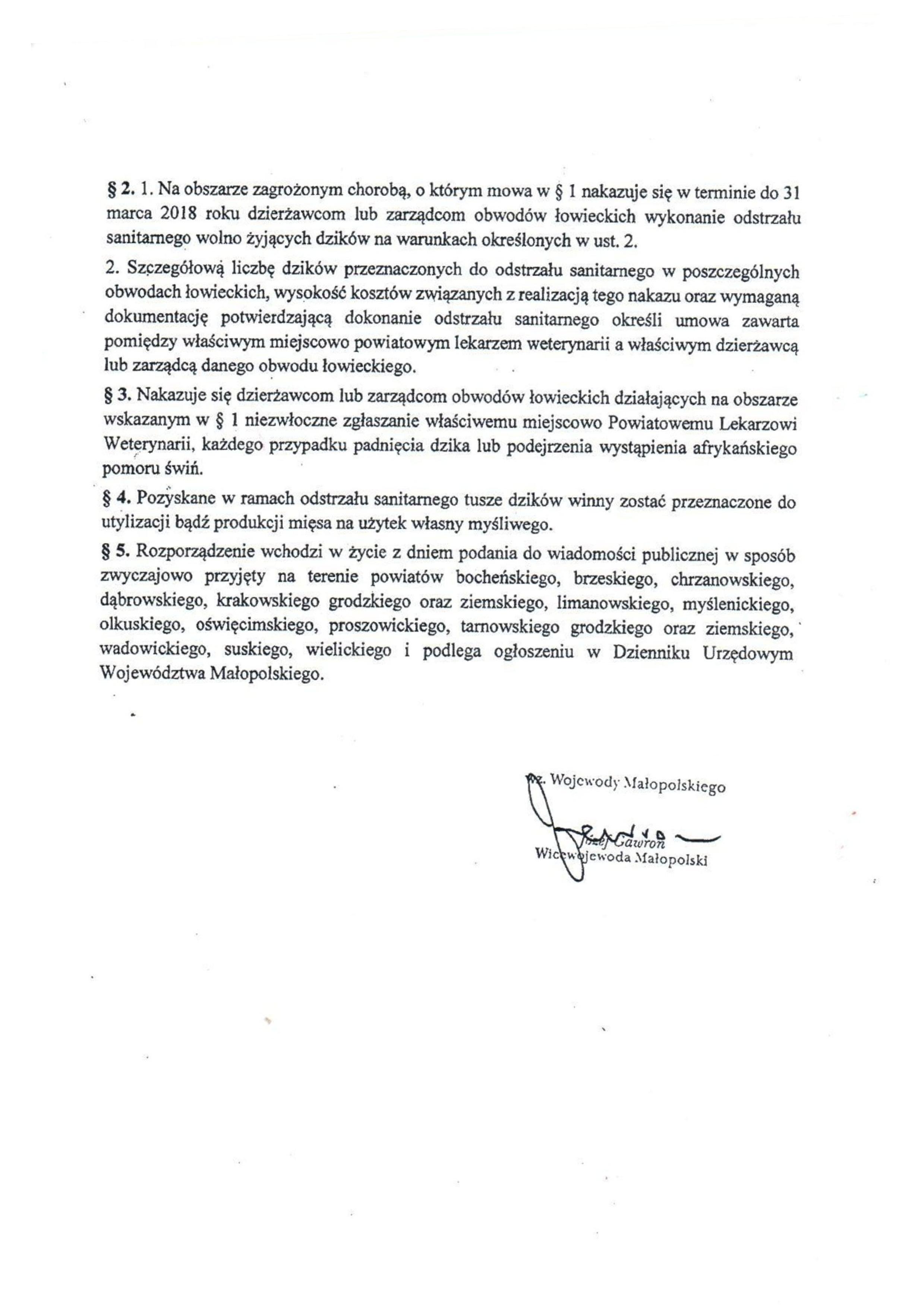 rozporządzenie wojewody w sprawie odstrzału sanitarnego dzików